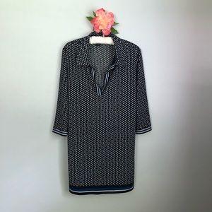 Max Edition Sz L Black Geometric Print Shift Dress